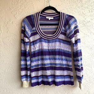 Maje : purple semi sheer metallic sweater -27